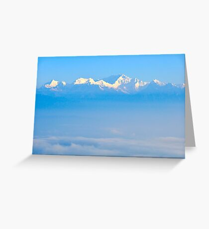 Snow capped Himalayas as seen in Sikkim, India Greeting Card