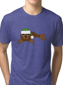 Brown Baby Seal with Christmas Green Santa Hat Tri-blend T-Shirt