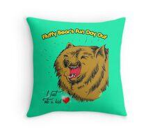 Fluffy Bear's Fun Day Out Throw Pillow