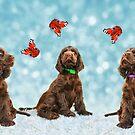 3 Puppies & The Butterflies by audah