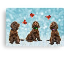 3 Puppies & The Butterflies Canvas Print