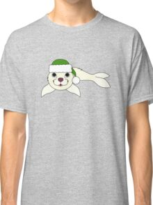 White Baby Seal with Christmas Green Santa Hat Classic T-Shirt