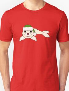 White Baby Seal with Christmas Green Santa Hat Unisex T-Shirt