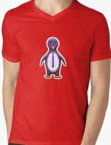 Argyle Penguin Mens V-Neck T-Shirt