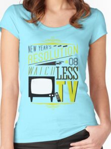 New Year's Resolution #8 - Watch less TV Women's Fitted Scoop T-Shirt