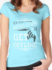 New Year's Resolution #10 - Get offline Women's Fitted Scoop T-Shirt