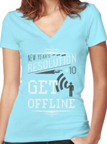 New Year's Resolution #10 - Get offline Women's Fitted V-Neck T-Shirt