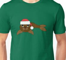 Brown Baby Seal with Christmas Red Santa Hat Unisex T-Shirt