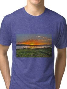Sunset over the Sea of Galilee Israel  Tri-blend T-Shirt