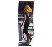 young blond woman in the street Poster