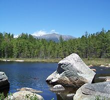 Mount Katahdin on the rocks by MarquisImages