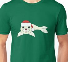 White Baby Seal with Christmas Red Santa Hat Unisex T-Shirt