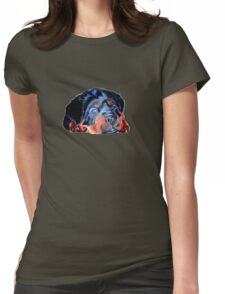 Pop Art Rottweiler Puppy Isolated Womens Fitted T-Shirt