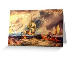 An Evening in Portsmouth Harbour 1825, tote bag Greeting Card