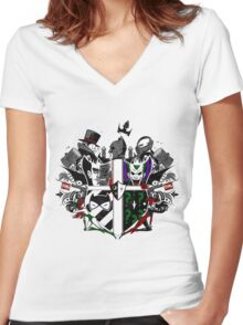 Criminal Coat of Arms- White Women's Fitted V-Neck T-Shirt