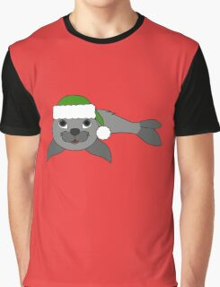 Gray Baby Seal with Christmas Green Santa Hat Graphic T-Shirt