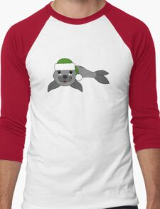 Gray Baby Seal with Christmas Green Santa Hat Men's Baseball ¾ T-Shirt