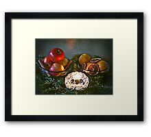 Christmas:a candle, fir branches spices and fruits Framed Print