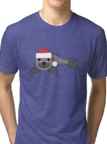 Gray Baby Seal with Christmas Red Santa Hat Tri-blend T-Shirt