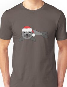 Gray Baby Seal with Christmas Red Santa Hat Unisex T-Shirt