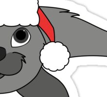 Gray Baby Seal with Christmas Red Santa Hat Sticker