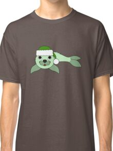 Light Green Baby Seal with Christmas Green Santa Hat Classic T-Shirt