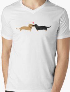 Dachshunds Love Mens V-Neck T-Shirt