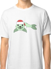 Light Green Baby Seal with Christmas Red Santa Hat Classic T-Shirt