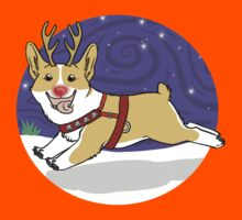 Rudolph the Red Nosed Corgi - with Background by Monica Diaz