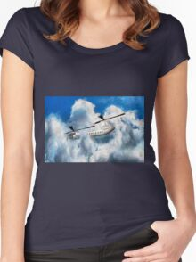 A digital painting of my vector drawing of a Chinook Type Helicopter Women's Fitted Scoop T-Shirt