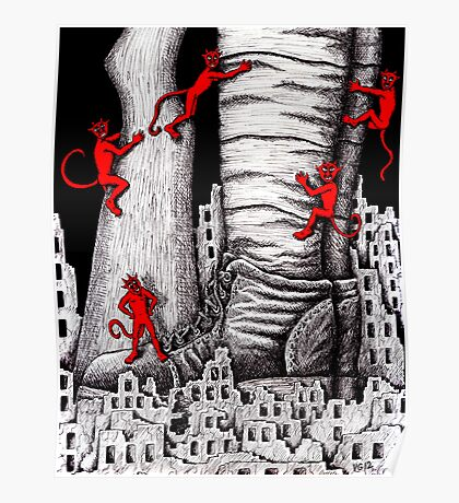 The War pen ink surreal drawing Poster
