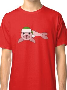 Light Pink Baby Seal with Christmas Green Santa Hat Classic T-Shirt