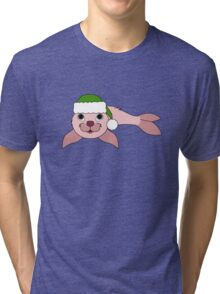 Light Pink Baby Seal with Christmas Green Santa Hat Tri-blend T-Shirt