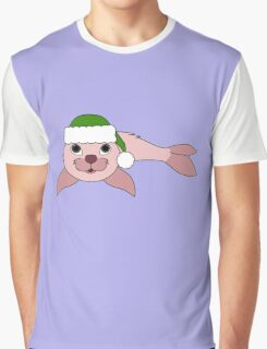 Light Pink Baby Seal with Christmas Green Santa Hat Graphic T-Shirt