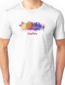 Boston skyline in watercolor Unisex T-Shirt