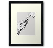 Wrench in Mechanic's Hand, gray background Framed Print