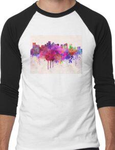 Boston skyline in watercolor background Men's Baseball ¾ T-Shirt