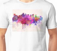 Boston skyline in watercolor background Unisex T-Shirt