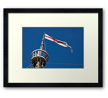 St George's flag pennant flying on the Matthew ship, a replica of a Caravel, Brest 2008 Maritime Festival, France Framed Print