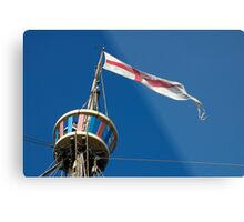 St George's flag pennant flying on the Matthew ship, a replica of a Caravel, Brest 2008 Maritime Festival, France Metal Print