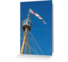 St George's flag pennant flying on the Matthew ship, a replica of a Caravel, Brest 2008 Maritime Festival, France Greeting Card