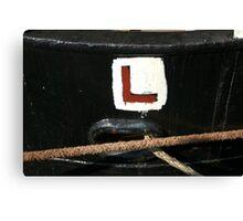 Learner driver L sign painted on stern of old ship, Brest 2008 Maritime Festival, Brittany, France Canvas Print