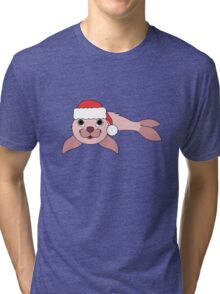 Light Pink Baby Seal with Christmas Red Santa Hat Tri-blend T-Shirt