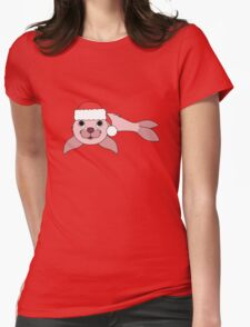 Light Pink Baby Seal with Christmas Red Santa Hat Womens Fitted T-Shirt