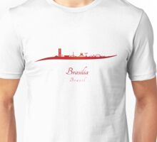 Brasilia skyline in red and gray background Unisex T-Shirt