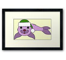 Light Purple Baby Seal with Christmas Green Santa Hat Framed Print