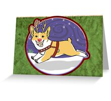 Rudolph the Red Nosed Corgi - Card Greeting Card