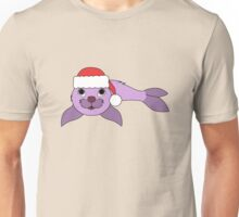 Light Purple Baby Seal with Christmas Red Santa Hat Unisex T-Shirt