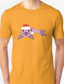 Light Purple Baby Seal with Christmas Red Santa Hat T-Shirt