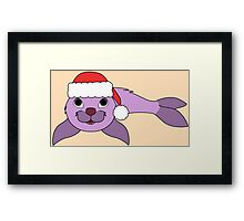 Light Purple Baby Seal with Christmas Red Santa Hat Framed Print